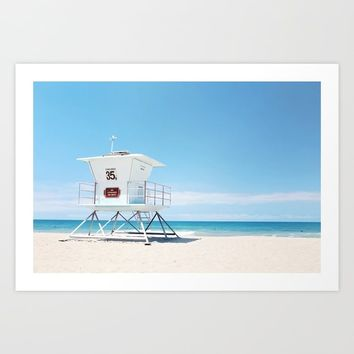 Lifeguard tower Carlsbad 35 Art Print by sylviacookphotography