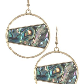 Oyster Shell Finish Cutout Round Earrings 1079
