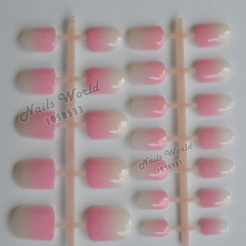 24pcs Acrylic Quadrate Head Gradient Chameleonic Candy Color False Full Nail Tips Fake Nails Pearl Shiny Pink Hot Pink 15