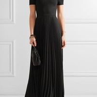 Alice + Olivia - Ilana off-the-shoulder stretch-jersey and chiffon dress
