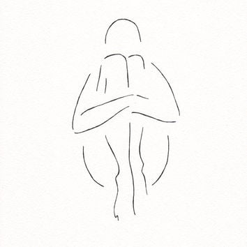 Minimalist nude sketch. Original ink drawing. Black and white artwork. Female figure wall art.