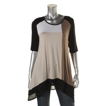 Style & Co. Womens Jersey Colorblock Tunic Top