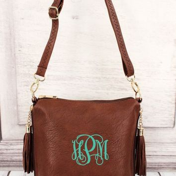 MONOGRAMMED  BROWN FAUX LEATHER DOUBLE TASSEL ZIP CROSSBODY BAG