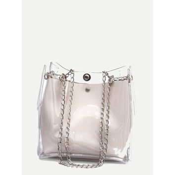 Clear Chain Tote Bag With Inner Pouch White
