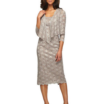 Alex Evenings Plus Plus Sequined Lace Sheath Dress With Jacket