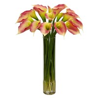 SheilaShrubs.com: Pink Calla Lilly w/Cylinder Silk Flower Arrangement 1251-PK by Nearly Natural : Artificial Flowers & Plants