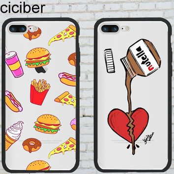 ciciber Phone Cases Food Pizza Donuts Tumblr Nutella for Iphone 6 6S 7 8 Plus X Hybrid Silicone Matte Hard PC Phone Back Cover