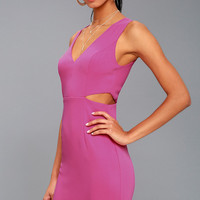 Backstage Pass Magenta Sleeveless Cutout Bodycon Dress