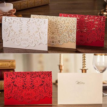 10pcs/lot Paper Crafts Picrced Flower Design Personalized & Customized Printing Romantic Lace Wedding Invitations Cards