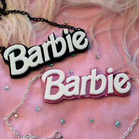 Barbie Acrylic Necklace in Black or Pink by imyourpresent on Etsy