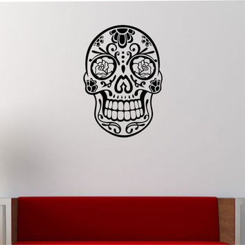 Sugar SKull Wall Decal Vinyl Sticker Art Decor Bedroom Design Mural interior design sugar skull living room tattoo roses