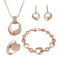 Gold Plated Swarovski Elements Crystal Jewelry Sets Necklace, Bracelet, Earrings, Ring
