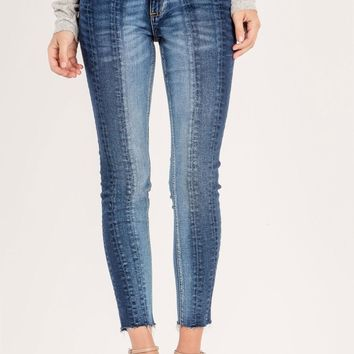 Miss Me Color Block Mid-Rise Ankle Skinny Jean