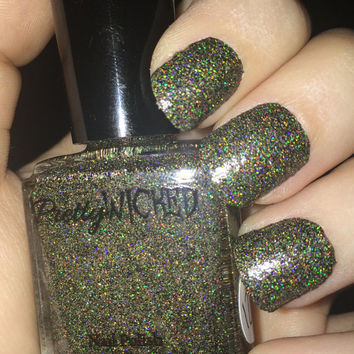 Black Gold Holographic Nail Polish, Holo Nail Polish, Gold Holographic Nail Polish, Black Holographic Nail Polish