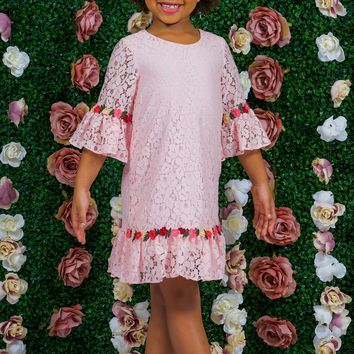 Pink Lace Shift Dress w. 3/4 Bell Sleeves & Flower Trim 2T-8