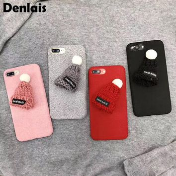 Cute Cotton Hat Fashion Soft Case Cover For iPhone X 8 7 6 6s Plus Phone Shell Red Handmade Plush Coque Felt Capa Winter Fundas
