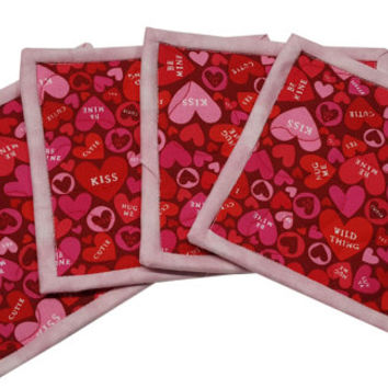 Quilted Coasters in Valentine Heart in Pink and Red