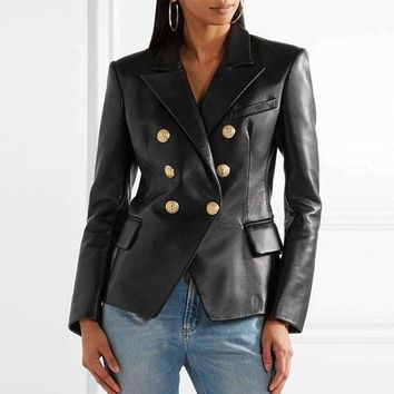 Double Breasted Black Leather Coat