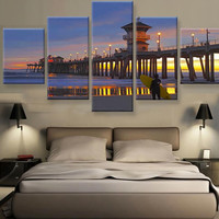 5 Panels Canvas Painting Wall Art Seaside Bridge Wall Pictures For Living Room Decorative Pictures Printed  Unframed