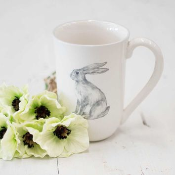 White Ceramic Farmhouse Animal Mug - Rabbit