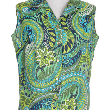 60s Green & Blue Psychedelic Paisley Sleeveless Blouse | Classic Vintage | Rokit Vintage Clothing