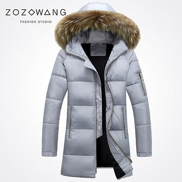Zozoweang new hooded large fur collar solid ln the long zipper plus size thick winter jacket men loose casual winter coat men