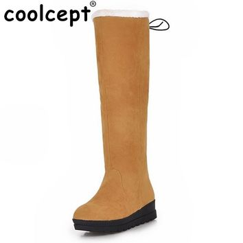 Size 35-43 New Women Boots Russia Keep Warm Outdoor Riding Boots Women's Fur Boots Winter Waterproof Snow Boots Shoes