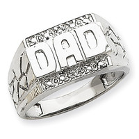 14k White Gold Solid Mens Diamond Dad Ring
