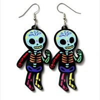 Hey Chickadee - Rainbow Skeleton earrings