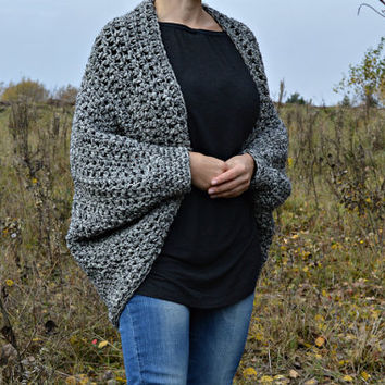 Chunky cardigan black & white • available 15 colors • chunky cocoon shrug • chunky sweater • blanket sweater • loose sweater • shawl sweater