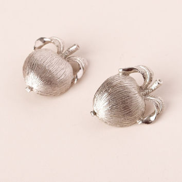 Vintage Sarah Coventry Silver Tone Apple Clip On Earrings