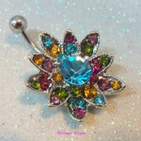 Belly ring, belly / naval ring, bellybutton ring, belly jewelry with large colorful crystal flower