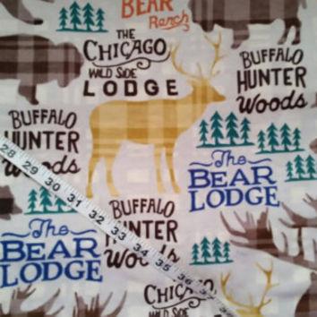 Wildlife Flannel fabric with bear buffalo elk plaid cotton print quilters sewing material by the yard BTY bear flannel buffalo fabric print