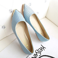 Cross leather Metal decoration Pointed toe flat shoes