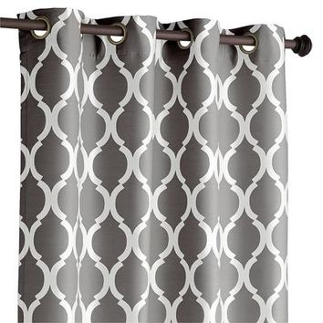 Moorish Tile Charcoal Curtain