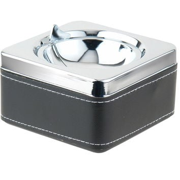 Swivel Black Leatherette & Stainless Steel Cigarette Ashtray