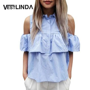 VESTLINDA Summer Women Off the Shoulder Ruffles Blouse Shirts Turn Down Collar Casual Sexy Tops Chemise Femme Work Office Blusas