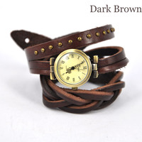 Vintage winding Rome Leather Brown Wrap Watch