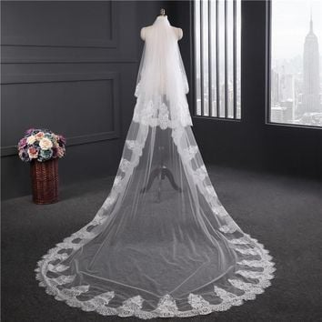 Pure ivory Lace Appliques Top Grass Long Tail One-Layer Lace Long Train Beautiful Bridal Veil For Wedding Dress