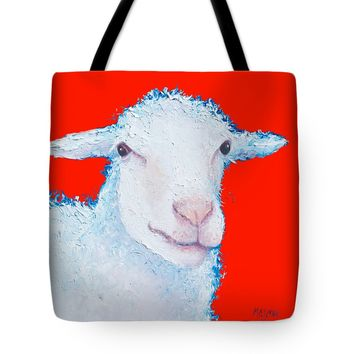 "Sheep painting on red background Tote Bag 18"" x 18"""
