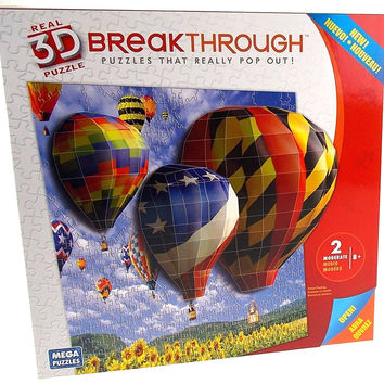 Real 3D Puzzle Breakthrough Puzzles Pop Out Hot Air Balloons Mega 18x24 250 Pc