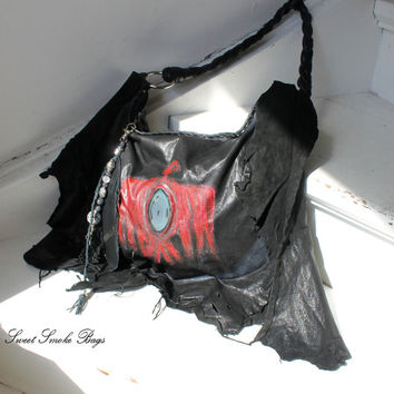 Leather in black with red aztec eagle thunder bird navajo bohemian artisan bag one of a kind raw edges purse festival bag gothic boho