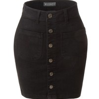 Casual Vintage Black Button Down A-Line Denim Skirt