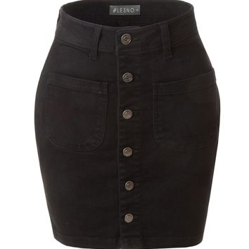 LE3NO Womens Casual Vintage Black Button Down A-Line Denim Skirt