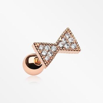 Rose Gold Butterfly Bow-Tie Sparkle Cartilage Tragus Barbell