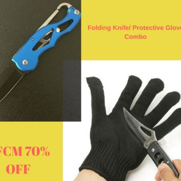 Anti-Cut Protective Hand Glove and Hunting Knife Combo