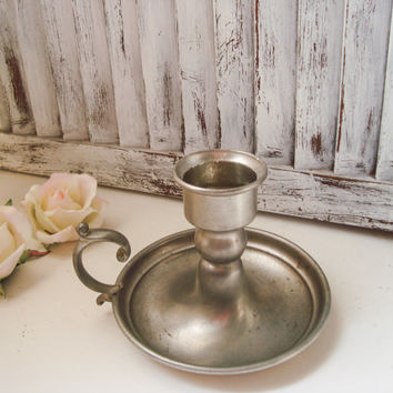 Vintage Peweter Candle Stick Holder, Taper Candlestick Holder with Handle, French Country Decor, Rustic, Metal Round Candle Holder Gift Idea