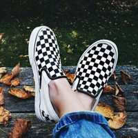 VANS Slip-On Canvas Old Skool Black White Check Flats Sneakers Sport Shoes I/A