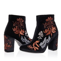 ONETOW Womens Black Embroidered Velour High Heel Ankle Boots