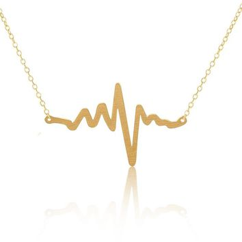 DIANSHANGKAITUOZHE Stainless Steel Unique Heartbeat Pendants Statement Necklaces Fashion Jewelry Collier Femme Best Friend Gift